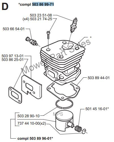 Cylinder & Piston Barrel Kit Fits Husqvarna 350 350E 351